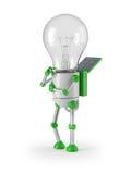Light bulb robot - thinking. Solar powered light bulb robot thinking Royalty Free Stock Photos