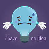 Light Bulb With Sad Face Have No Idea Concept Stock Images