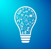 Light bulb with science icons Royalty Free Stock Photo