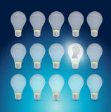 Light bulb set and avatar illustration design. Over a blue background Stock Photos