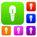 Light bulb set collection. Light bulb set icon in different colors isolated vector illustration. Premium collection Royalty Free Stock Photography