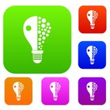 Light bulb set color collection. Light bulb set icon color in flat style isolated on white. Collection sings vector illustration Stock Photo