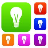 Light bulb set color collection. Light bulb set icon color in flat style isolated on white. Collection sings vector illustration Stock Photography