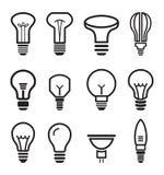 Light bulb set icons on white background. Vector illustration Stock Photography