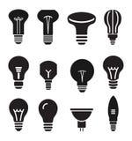 Light bulb set icons on white background Royalty Free Stock Photo