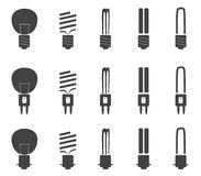 Light bulb set. Silhouette of light bulbs with three kind of sockets Royalty Free Stock Photo