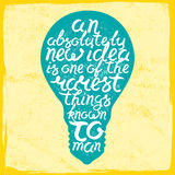 Light bulb shape inspirational lettering quote Stock Photography