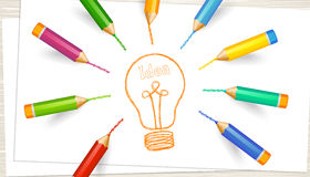Light bulb, sheets of paper, colored highly detailed pencils Royalty Free Stock Images