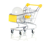 Light bulb in the shopping cart Stock Photos