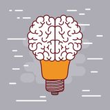 Light bulb silhouette with brain shape on top with gray background Royalty Free Stock Images