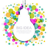 Light bulb silhouette with colorful circles. Vector illustration Stock Photography