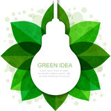 Light bulb silhouette with green leaves frame. Vector illustrati Stock Images