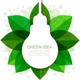 Light bulb silhouette with green leaves frame. Vector illustrati Stock Images