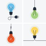 Light bulb simple icon set. Light bulb flat icon with cord and plug Royalty Free Stock Photography