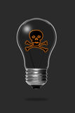 Light bulb with a skull and bones Royalty Free Stock Photos