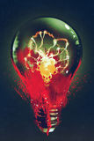 Light bulb with the skull glowing inside. On dark background,illustration painting royalty free illustration