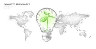 Light bulb with small plant on world map. Lamp saving energy ecology environment sprout idea concept. Polygonal light. Electricity green energy power seedling vector illustration