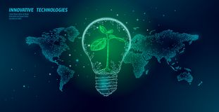 Light bulb with small plant on world map. Lamp saving energy ecology environment sprout idea concept. Polygonal light. Electricity green energy power seedling stock illustration