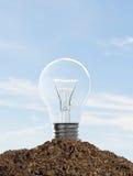 Light bulb in soil Royalty Free Stock Photos
