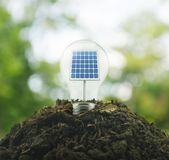 Light bulb with solar cell inside on pile of soil over green env. Ironment, Ecological concept Royalty Free Stock Images