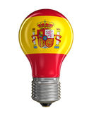 Light bulb with Spanish flag (clipping path included) Royalty Free Stock Image