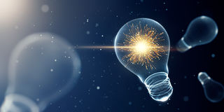 Light bulb with sparks. 3D Rendering Stock Images