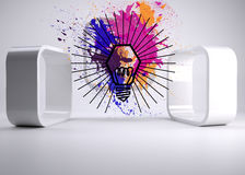 Light bulb on splashes on abstract background Royalty Free Stock Photos