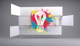 Light bulb on splashes on abstract background Royalty Free Stock Photography