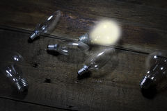 A light bulb that stable and glowing among the others.  Stock Photos
