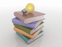 Light Bulb on Stack of Books, Knowledge Solution Concept Stock Photos
