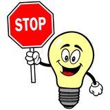 Light Bulb with Stop Sign Royalty Free Stock Images