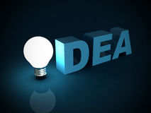 Light bulb success idea text concept in the dark Royalty Free Stock Images