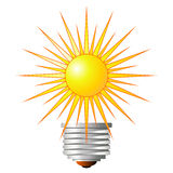 Light bulb with sun Stock Images