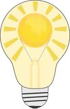 Light bulb with sun inside Royalty Free Stock Images