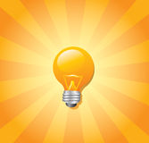 Light bulb and sunburst Stock Photo