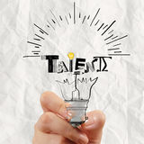 Light bulb and TALENT word design as concept Stock Photos