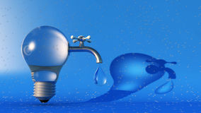Light bulb, tap and beach. 3d illustration of light bulb, tap and beach Stock Images