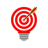 Light bulb with target and arrow. Vector Illustration Stock Photography