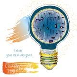 Light bulb technical idea banner for innovation or presentation. Stock Image