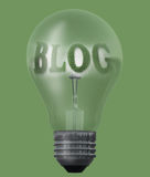 Light bulb with text blog. Made in 3d software Stock Image