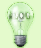 Light bulb with text blog. Made in 3d software Royalty Free Stock Photography