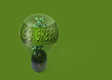 Light bulb with text  go green Stock Photo