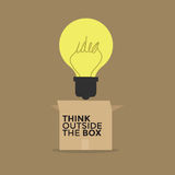Light bulb thinking outside the box Royalty Free Stock Photo