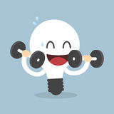 Light Bulb Training With Dumbbells, Idea concept Royalty Free Stock Images