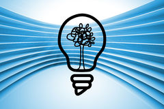 Light bulb with tree on abstract background Royalty Free Stock Images