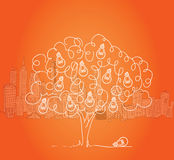 Light bulb tree with cityscape in background Stock Photos