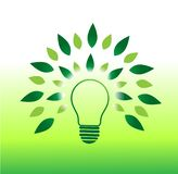 Light bulb tree concept and green energy vector illustration