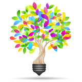 Light bulb and tree. Eco light. Save energy concept Royalty Free Stock Photos