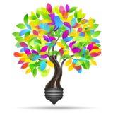 Light bulb and tree. Eco light. Save energy concept Royalty Free Stock Image