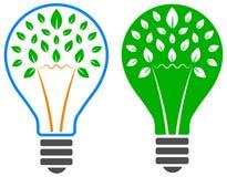 Light bulb tree logo Stock Photo